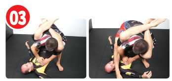 Once on his feet, he chooses a side. Garry likes his right side so he steps his right foot over his opponent's body then drops his butt down to the mat.