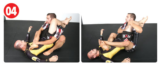 Quickly, he fights to also bring his left leg over, which he then crosses over his opponent's torso. As soon as he has both legs crossed, he postures back using his entire body to break the triangle using his hands as well.