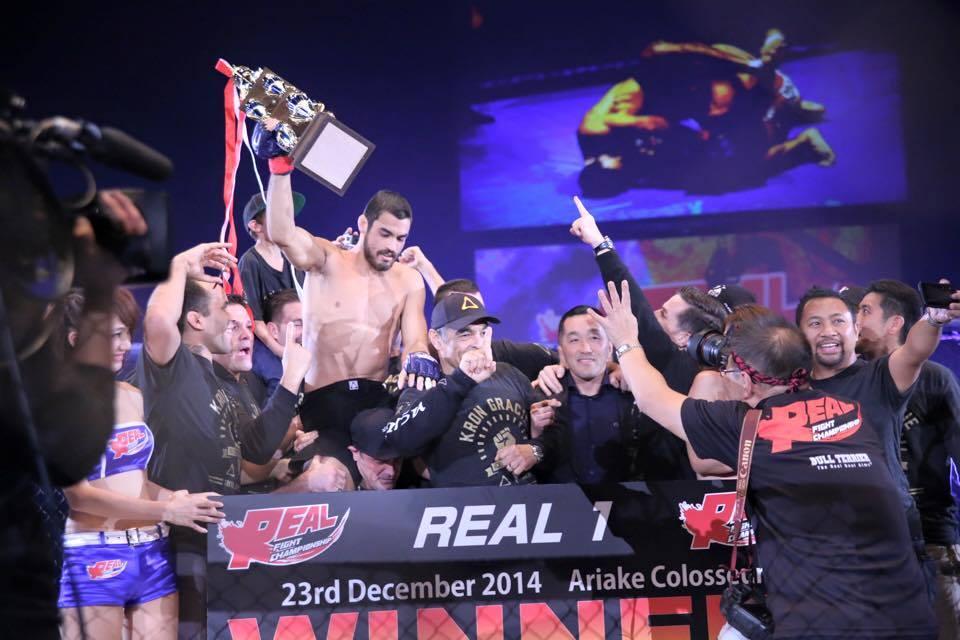 Kron Gracie celebrating his MMA debut win. Photo Credit: Kron Gracie Facebook.