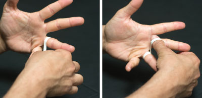 Start by creating an anchor below the affected joint by circling the tape 2 or 3 times around your finger.