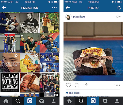 This is probably one of my favorite Instagrams to creep on, and an excellent example of an identifiable brand. A simple glance at @pizzajitsu's Instagram and it is obvious that he is all about two things: jiu-jitsu and pizza.